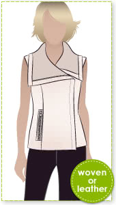 Eddie Biker Vest Sewing Pattern By Style Arc - Vest with extended collar and front zip and faux zip pocket