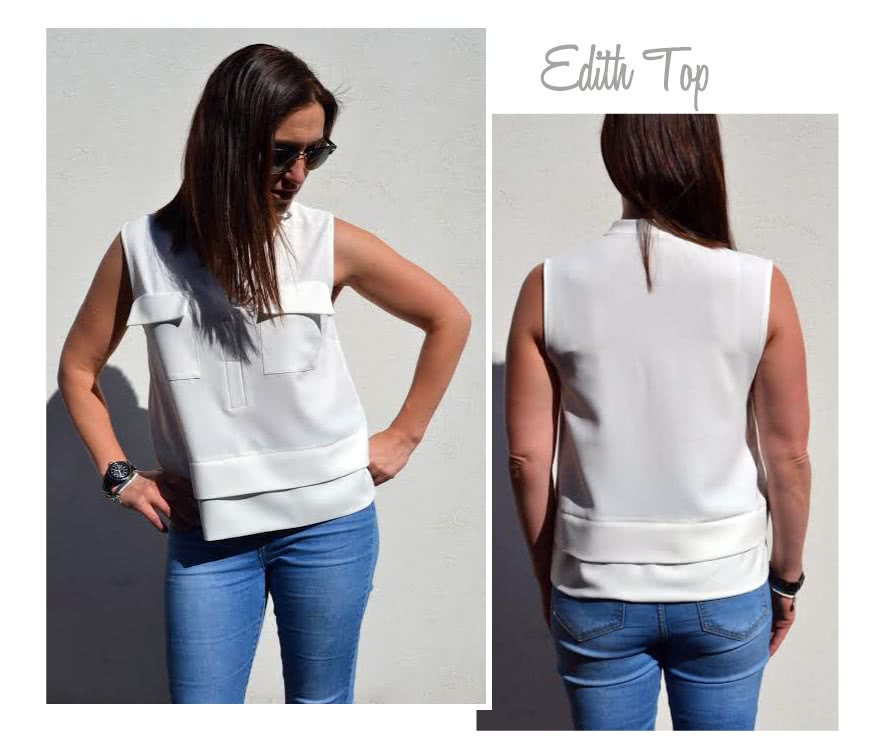 Edith Top Sewing Pattern By Style Arc - Versatile top with a clever layered look