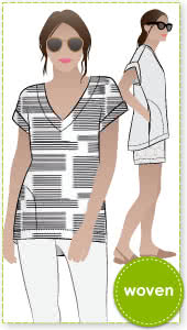 Elani Tunic Sewing Pattern By Style Arc - Tunic top featuring an extended shoulder line, pockets & shaped hemline