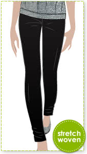 Elle Pant Sewing Pattern By Style Arc - Stylish slim line stretch woven pant elastic waist pant