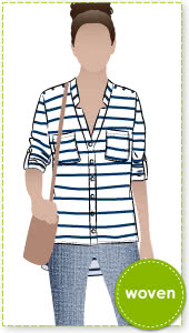 "Elsie Woven Overshirt Sewing Pattern By Style Arc - Fabulous over shirt with the fashionable ""reverse revere"""
