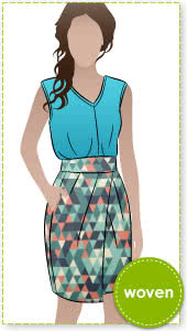 Emily Skirt Sewing Pattern By Style Arc - Tulip shaped skirt with shaped waistband