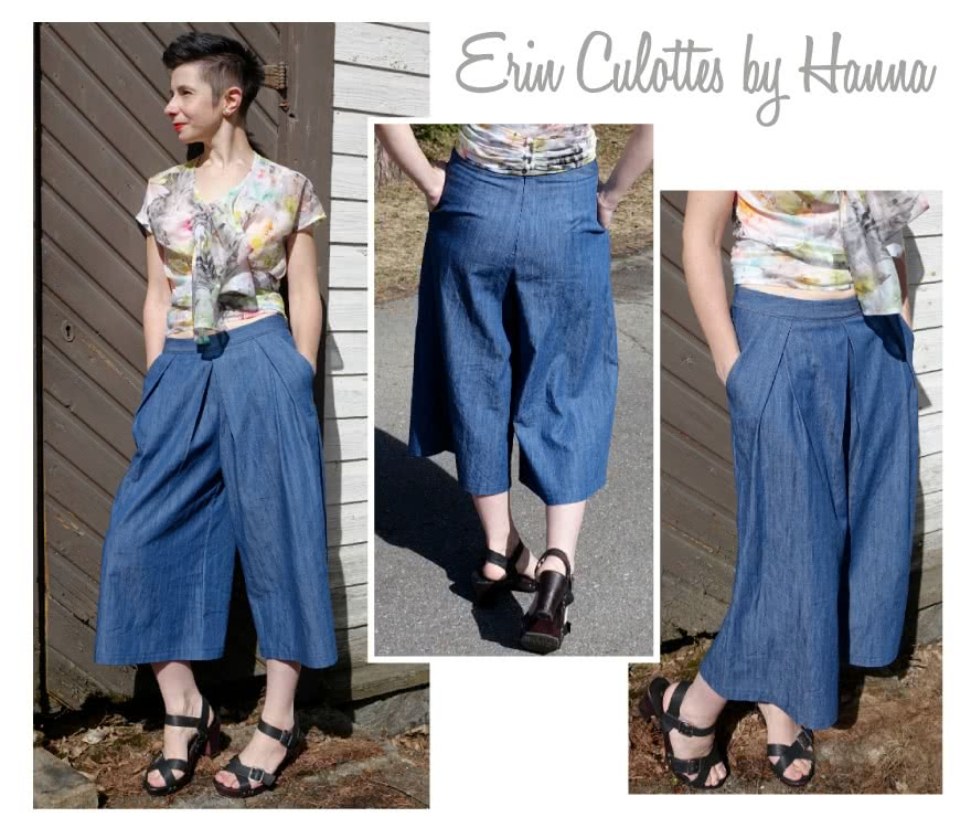 Erin Woven Culottes Sewing Pattern By Hanna And Style Arc - Pleat front culottes with angled pockets
