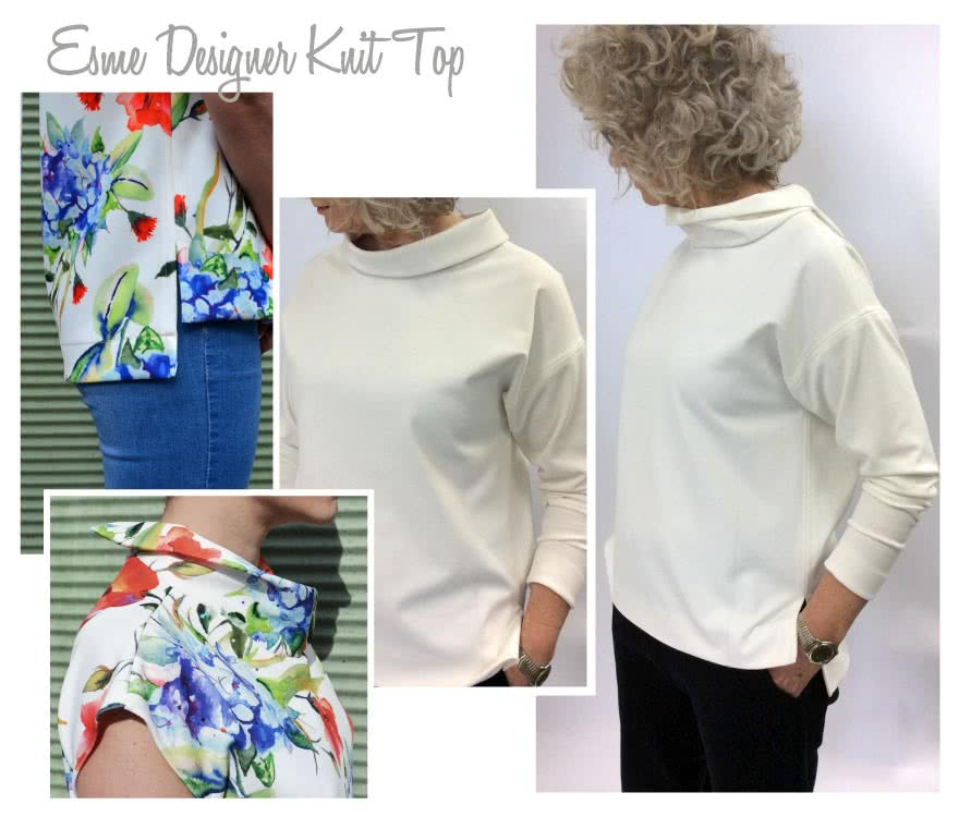 Esme Designer Knit Top Sewing Pattern By Style Arc - Square cut top with funnel or band neck options, sleeved or sleeveless, with a high/low hem