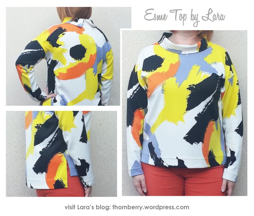 Esme Designer Knit Top Sewing Pattern By Lara And Style Arc - Square cut top with funnel or band neck options, sleeved or sleeveless, with a high/low hem