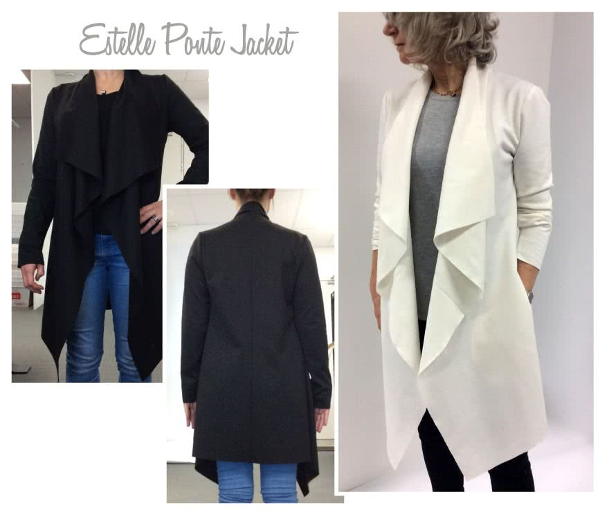 Estelle Ponte Jacket Sewing Pattern By Style Arc - Knee length jacket with waterfall collar