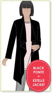Estelle Jacket + Black Ponte Sewing Pattern Fabric Bundle By Style Arc - Estelle Jacket pattern + Black Ponte fabric