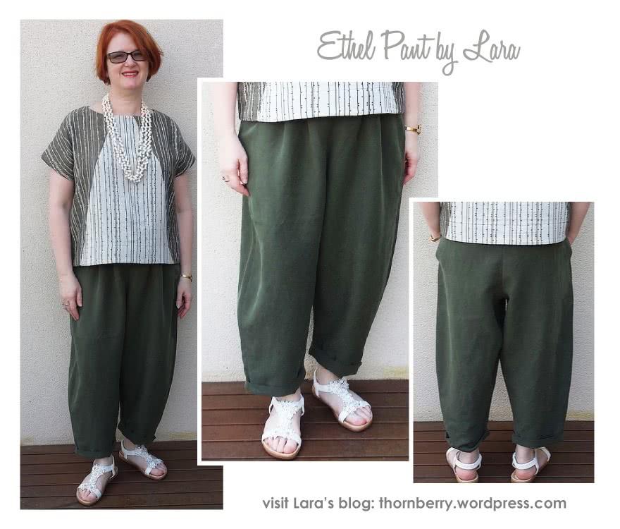 Ethel Designer Pant Sewing Pattern By Lara And Style Arc - Elastic waist crop Gaucho pant