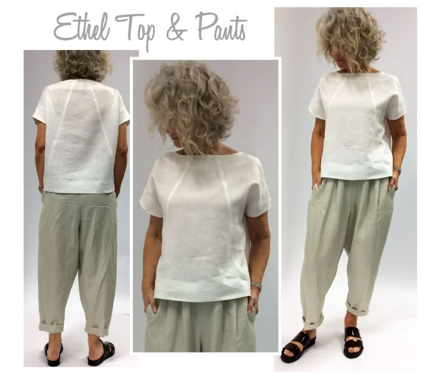 Ethel Designer Pant Sewing Pattern By Style Arc - Elastic waist crop Gaucho pant