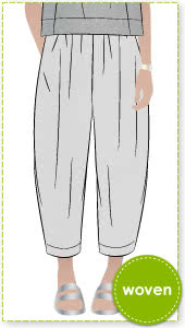 Ethel Designer Pant Sewing Pattern By Style Arc - Elastic waist crop Gaucho pant