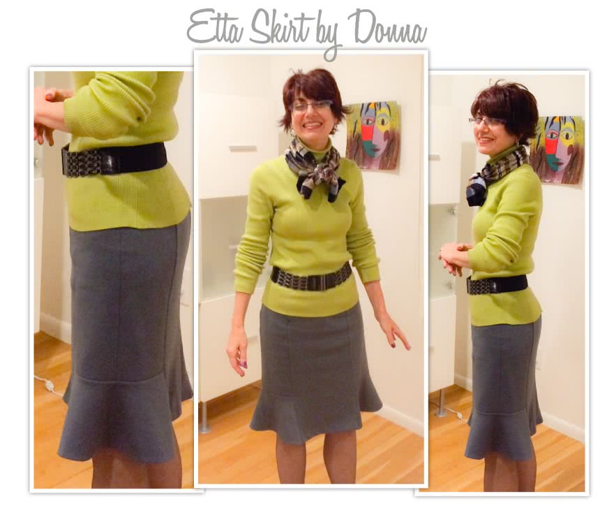 Etta Skirt Sewing Pattern By Donna And Style Arc - Pencil skirt with side hem flounce