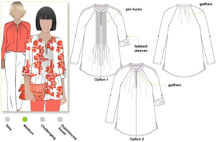 Faith Woven Top Sewing Pattern By Style Arc - Kaftan Style with front tuck feature