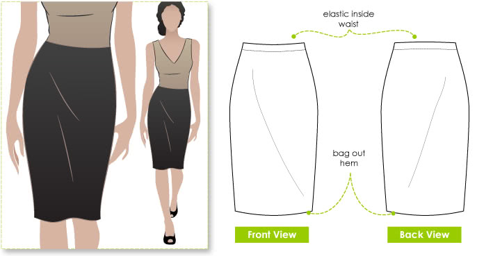 Fay Skirt Sewing Pattern By Style Arc - Figure hugging pull-on one piece skirt