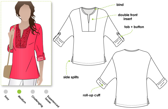 Fleur Tunic Sewing Pattern By Style Arc - Tunic top with inserted yoke and fashionably deep armhole