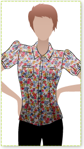 Felicity Blouse Sewing Pattern By Style Arc - Pretty blouse with slight gathers at sleeve