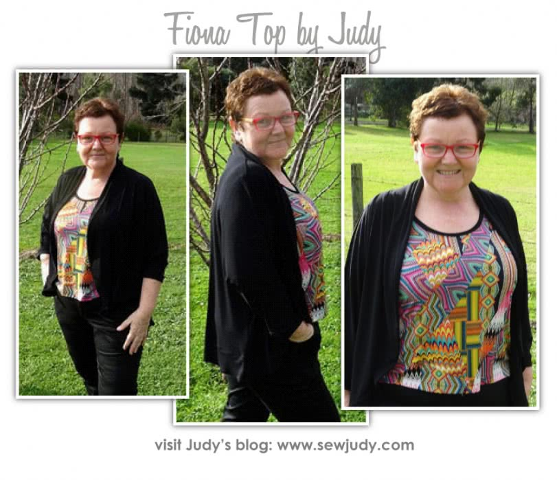 Fiona Knit Top Sewing Pattern By Judy And Style Arc - Great knit cardigan with dolman sleeve & shawl collar