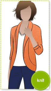 Fiona Knit Top Sewing Pattern By Style Arc - Great knit cardigan with dolman sleeve & shawl collar