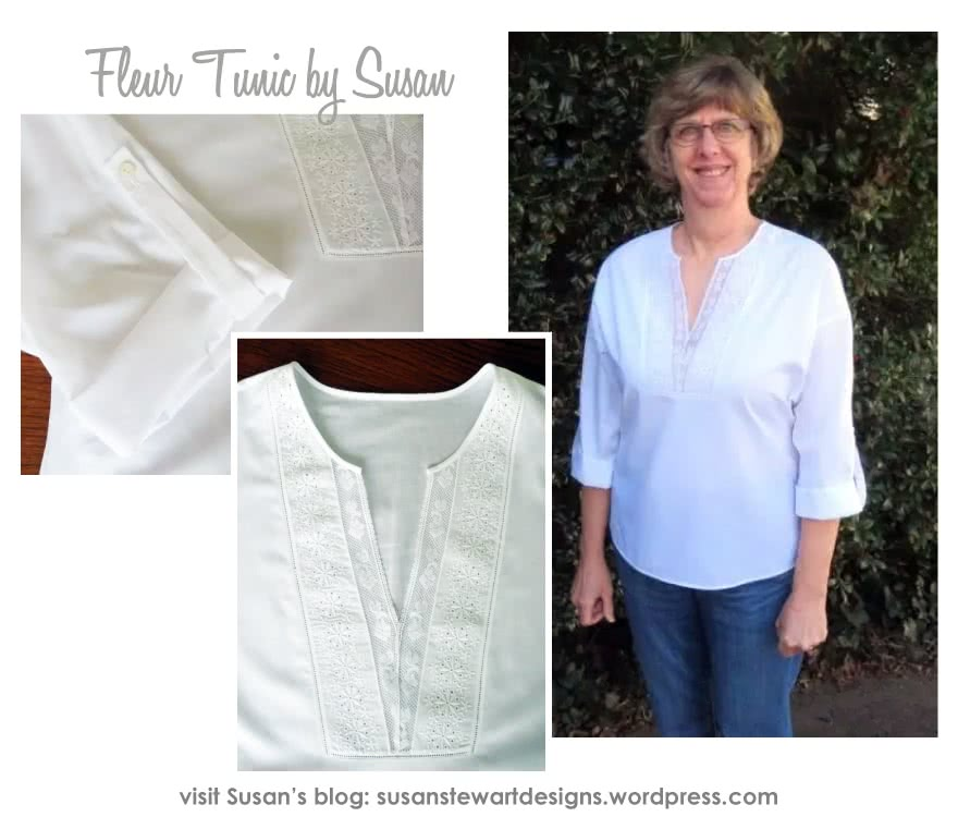 Fleur Tunic Sewing Pattern By Susan And Style Arc - Tunic top with inserted yoke and fashionably deep armhole