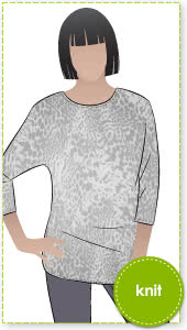 Fran Knit Top Sewing Pattern By Style Arc - Great basic layering piece with a point of difference