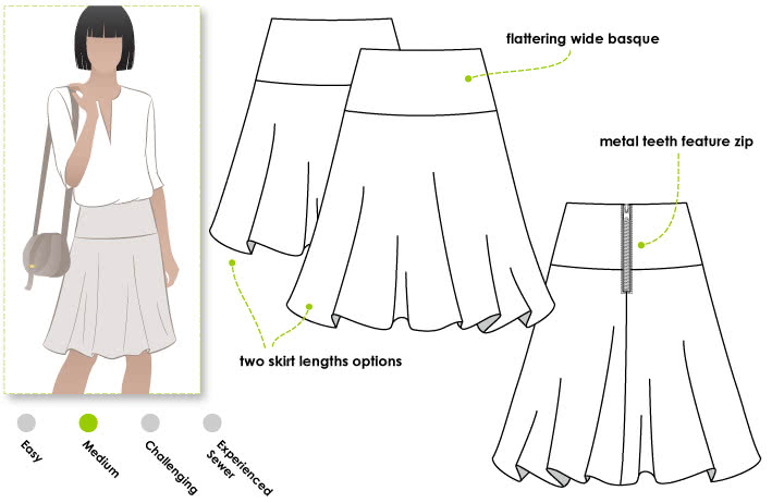 Gabriella Skirt Sewing Pattern By Style Arc - Flip skirt on a Basque featuring an exposed back zip