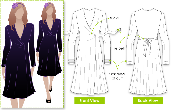 Rachel Dress Sewing Pattern By Style Arc - Fabulous versatile wrap dress