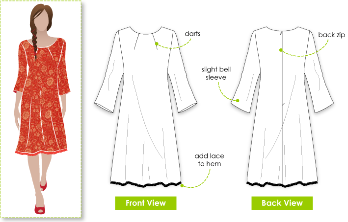 "Lara Dress Sewing Pattern By Style Arc - Great ""throw on"" dress with neck darts"