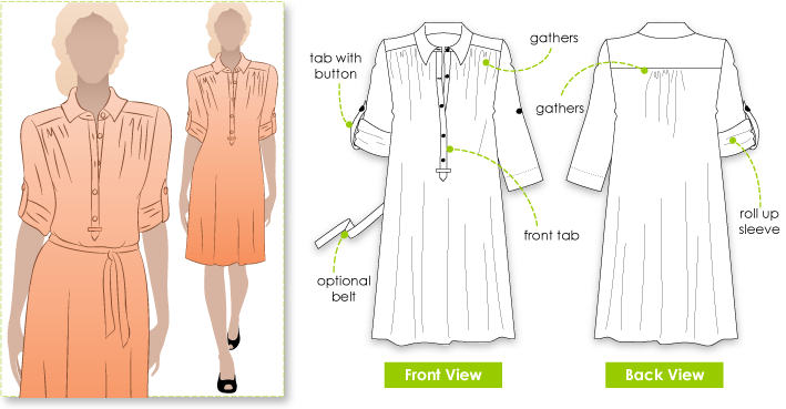 Nikki Dress Sewing Pattern By Style Arc - Breezy button front dress with roll-up sleeve