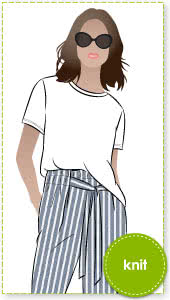 Gem Knit Tee Sewing Pattern By Style Arc - Short sleeve t-shirt with dipped back hemline.
