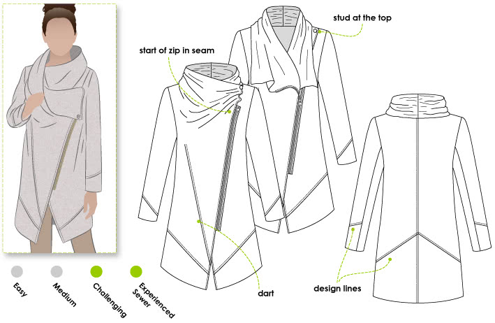 Genevieve Jacket / Coat Sewing Pattern By Style Arc - Designer jacket with fabulous collar & zip front