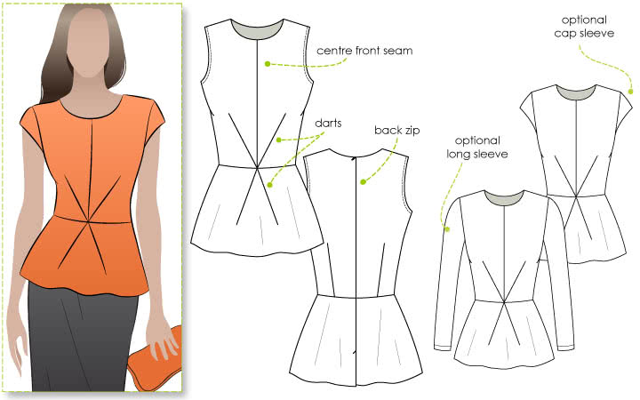 Georgia Peplum Top Sewing Pattern By Style Arc - Top of the season - peplum top with front dart detail