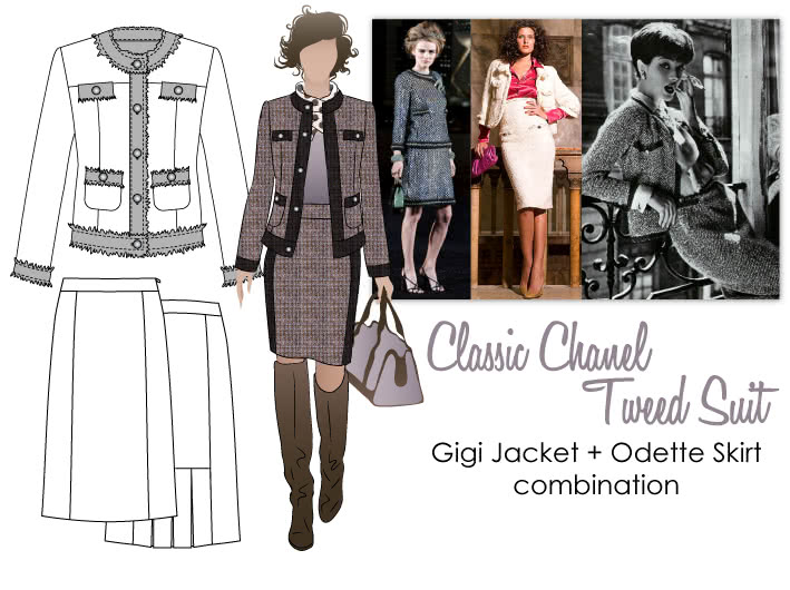 Classic Tweed Suit Sewing Pattern Bundle By Style Arc - Chanel Classics: Gigi Jacket + Odette Skirt