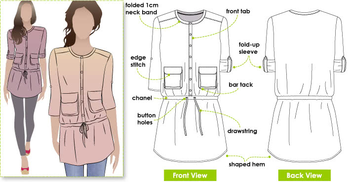 Ginnie Tunic Sewing Pattern By Style Arc - Tunic Top featuring pockets & drawstring