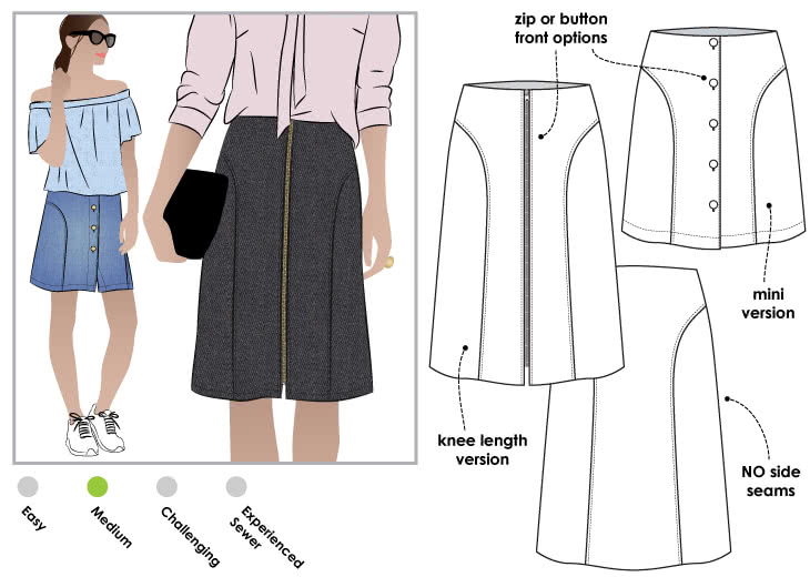Goldie Woven Skirt Sewing Pattern By Style Arc - Classic skirt in two lengths with interesting design lines and front openings
