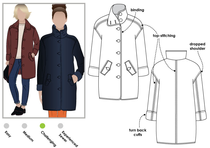 Grace Trans Seasonal Coat Sewing Pattern Jacket Vest Coat