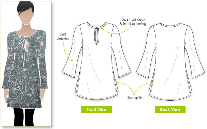 Michelle Tunic Sewing Pattern By Style Arc - Easy to wear, flattering kaftan-style tunic/top
