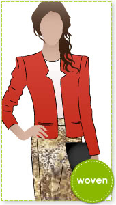 Gabby Woven Jacket Sewing Pattern By Style Arc - Reverse revere jacket with sleeve head treatment