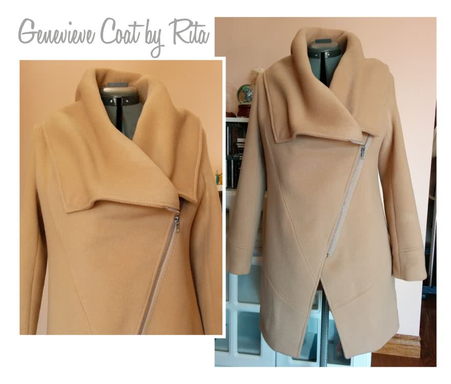 Genevieve Jacket / Coat Sewing Pattern By Rita And Style Arc - Designer jacket with fabulous collar & zip front