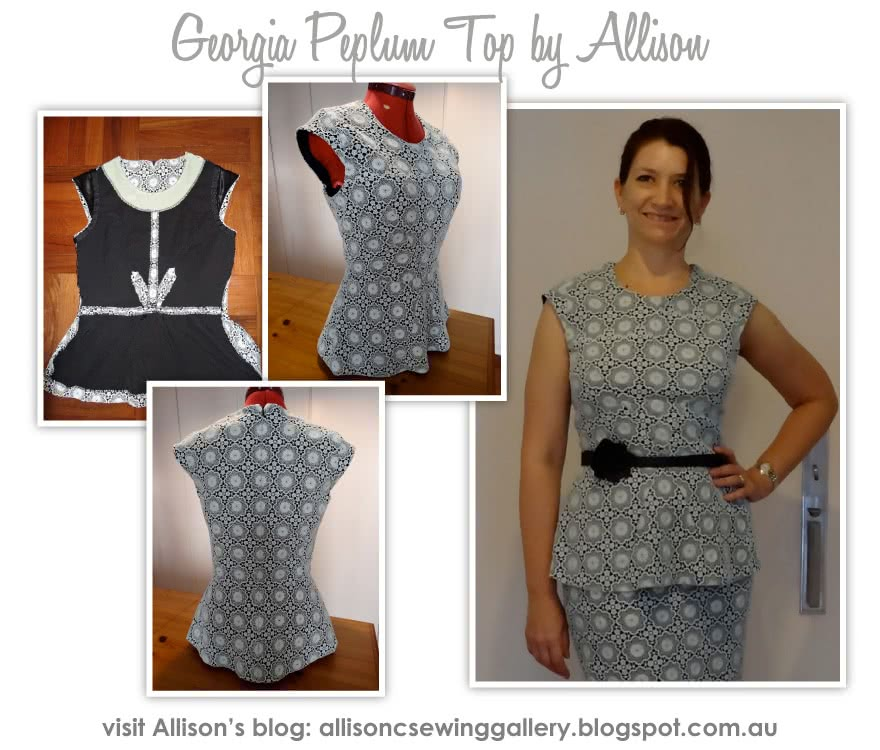 Georgia Peplum Top Sewing Pattern By Allison And Style Arc - Top of the season - peplum top with front dart detail