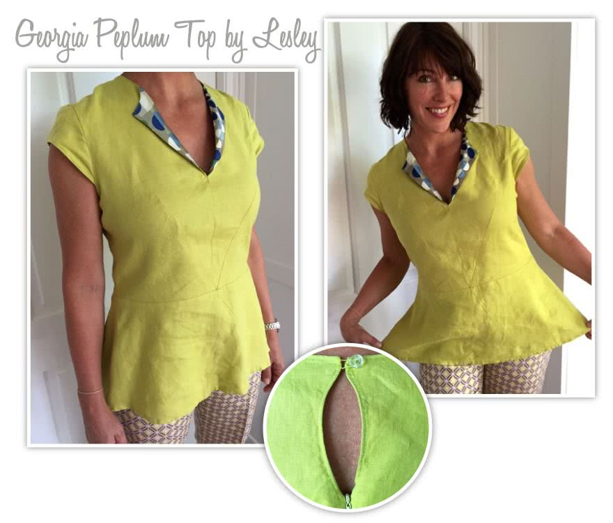 Georgia Peplum Top Sewing Pattern By Lesley And Style Arc - Top of the season - peplum top with front dart detail