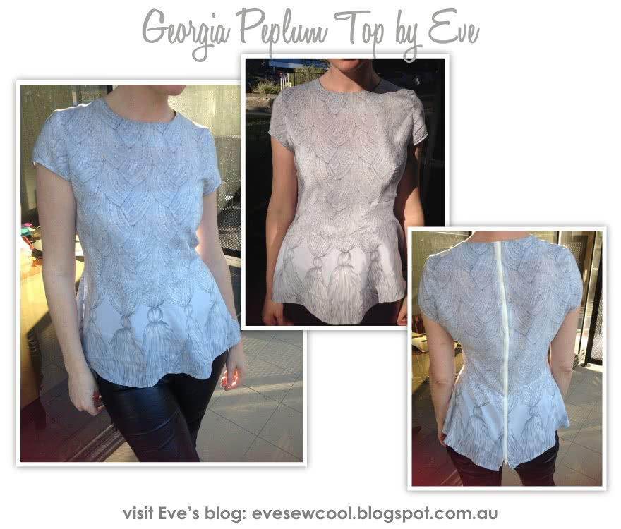 Georgia Peplum Top Sewing Pattern By Eve And Style Arc - Top of the season - peplum top with front dart detail
