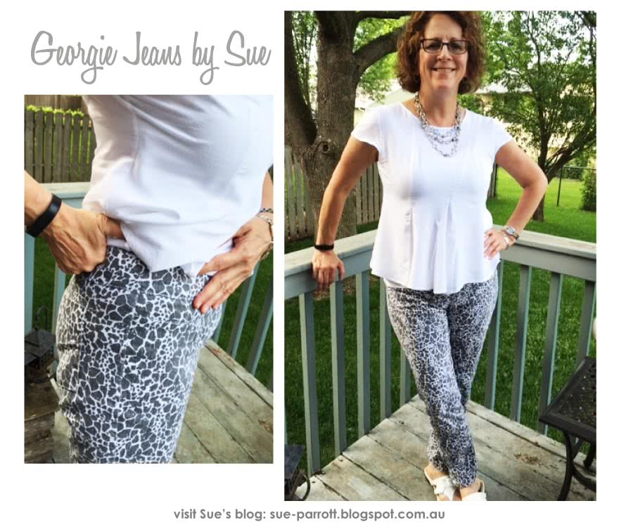 Georgie Stretch Woven Jean Sewing Pattern By Sue And Style Arc - Pull on woven stretch pant with wide waistband and the perfect leg shape.
