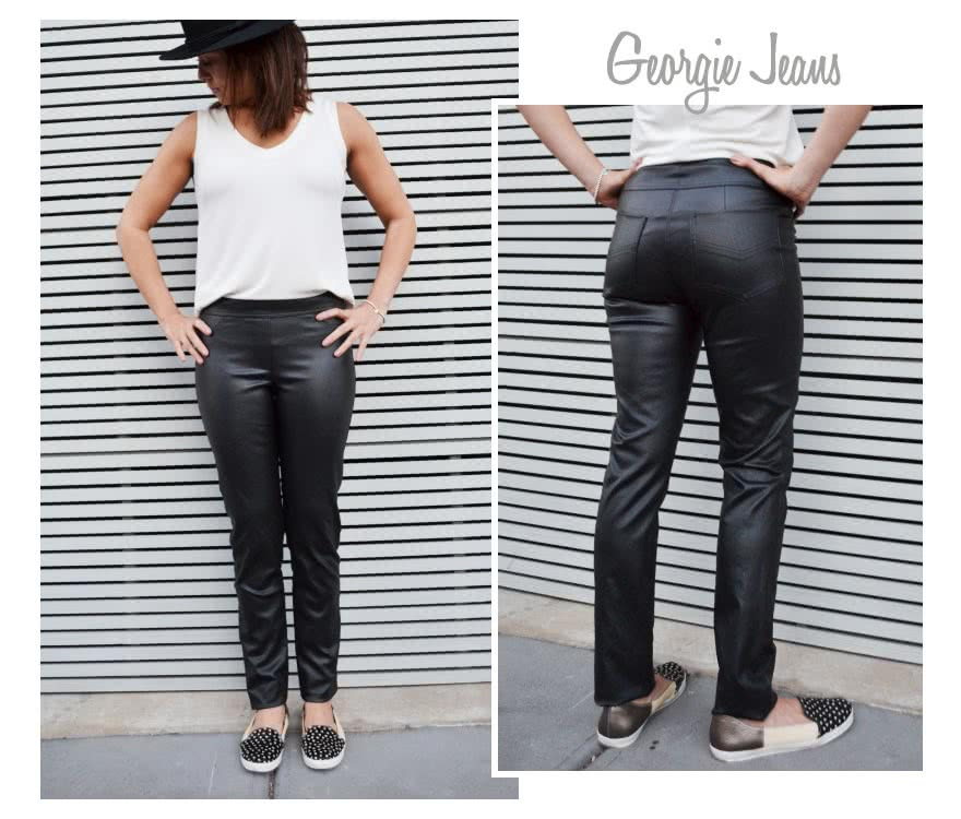 Georgie Stretch Woven Jean Sewing Pattern By Style Arc - Pull on woven stretch pant with wide waistband and the perfect leg shape.
