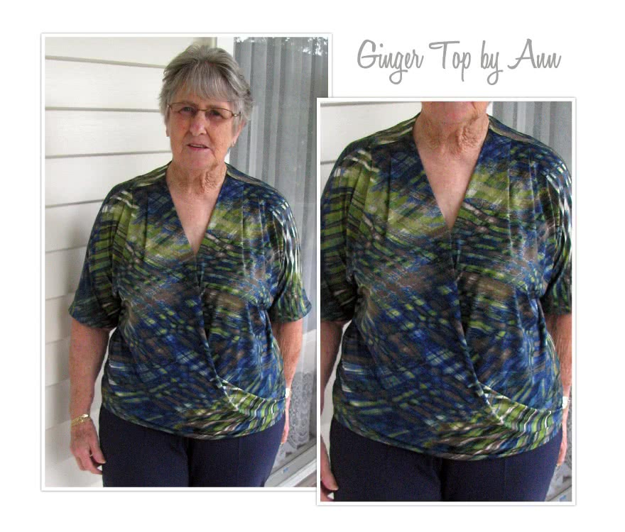 Ginger Top Sewing Pattern By Ann And Style Arc - Front drape crossover top with all in one sleeve