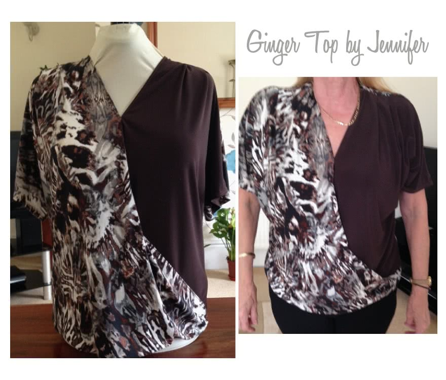 Ginger Top Sewing Pattern By Jennifer And Style Arc - Front drape crossover top with all in one sleeve