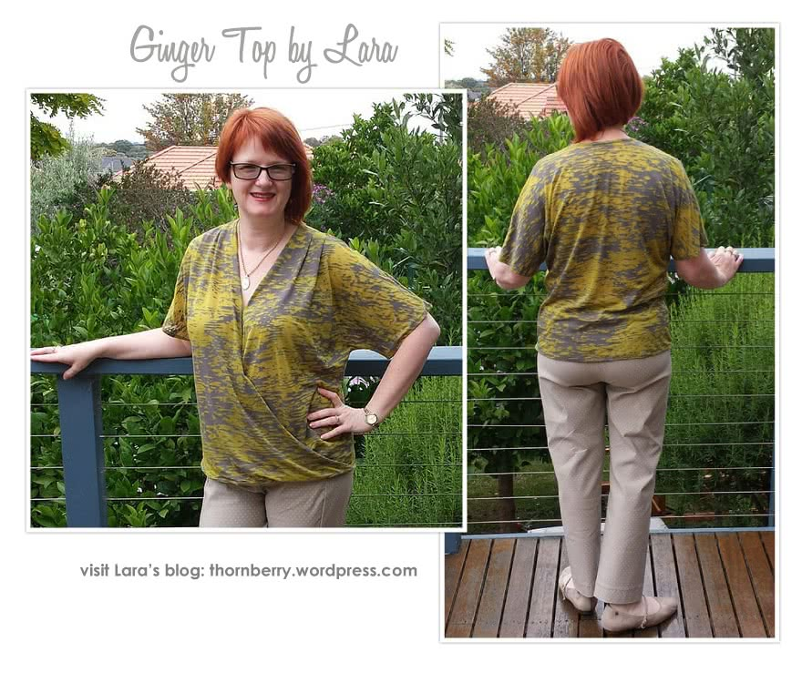 Ginger Top Sewing Pattern By Lara And Style Arc - Front drape crossover top with all in one sleeve