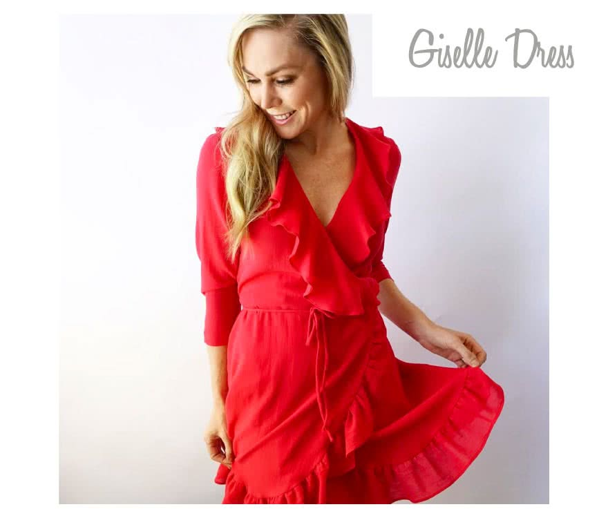 Giselle Dress Sewing Pattern By Style Arc - Feminine wrap dress with ruffles