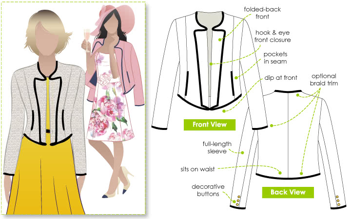 Hannah Jacket Sewing Pattern By Style Arc - Cute woven jacket with hook & eye front fastening
