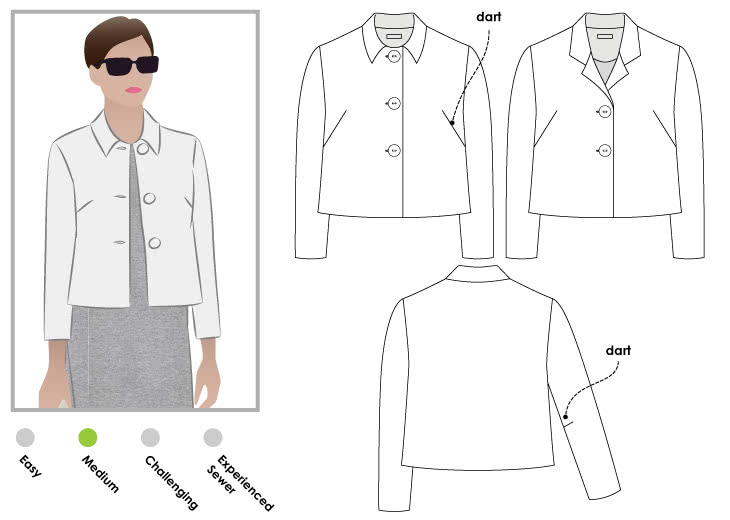 Harriet Jacket Sewing Pattern By Style Arc - Simple boxy shaped lined jacket.