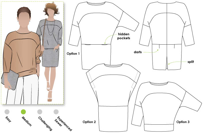 Hazel Combo Sewing Pattern By Style Arc - Oversized cocoon dress with so many options