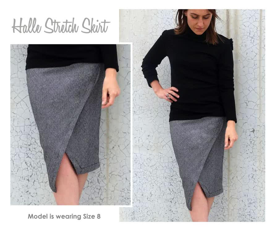 Halle Stretch Skirt Sewing Pattern By Style Arc - Elastic waist skirt with asymmetrical hem